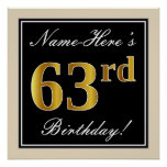 [ Thumbnail: Elegant, Black, Faux Gold 63rd Birthday + Name Poster ]