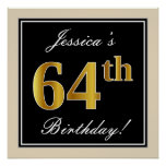 [ Thumbnail: Elegant, Black, Faux Gold 64th Birthday + Name Poster ]