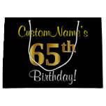 [ Thumbnail: Elegant, Black, Faux Gold 65th Birthday + Name Gift Bag ]