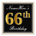[ Thumbnail: Elegant, Black, Faux Gold 66th Birthday + Name Invitation ]