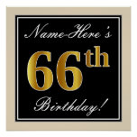 [ Thumbnail: Elegant, Black, Faux Gold 66th Birthday + Name Poster ]