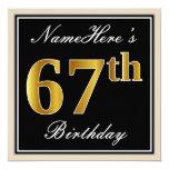 [ Thumbnail: Elegant, Black, Faux Gold 67th Birthday + Name Invitation ]