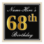 [ Thumbnail: Elegant, Black, Faux Gold 68th Birthday + Name Invitation ]