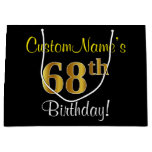 [ Thumbnail: Elegant, Black, Faux Gold 68th Birthday + Name Gift Bag ]