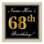 [ Thumbnail: Elegant, Black, Faux Gold 68th Birthday + Name Poster ]