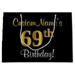 [ Thumbnail: Elegant, Black, Faux Gold 69th Birthday + Name Gift Bag ]