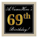 [ Thumbnail: Elegant, Black, Faux Gold 69th Birthday + Name Poster ]