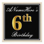 [ Thumbnail: Elegant, Black, Faux Gold 6th Birthday + Name Invitation ]