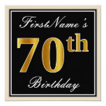 [ Thumbnail: Elegant, Black, Faux Gold 70th Birthday + Name Invitation ]