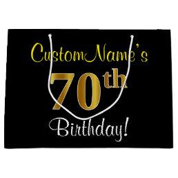 Elegant Black Faux Gold 70th Birthday Name Large Gift Bag