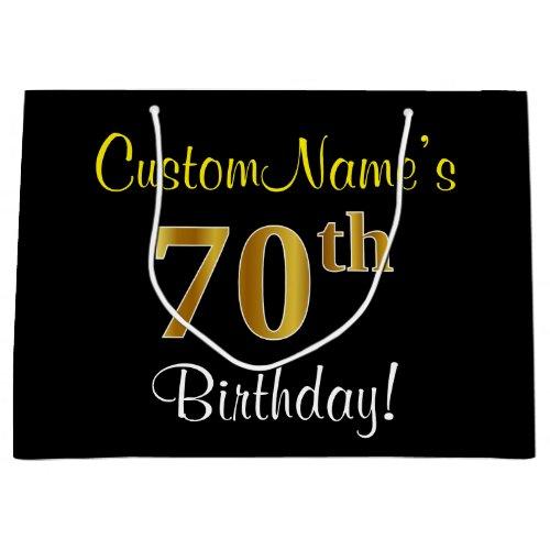 Elegant, Black, Faux Gold 70th Birthday + Name Large Gift Bag