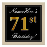 [ Thumbnail: Elegant, Black, Faux Gold 71st Birthday + Name Poster ]