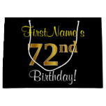 [ Thumbnail: Elegant, Black, Faux Gold 72nd Birthday + Name Gift Bag ]
