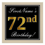 [ Thumbnail: Elegant, Black, Faux Gold 72nd Birthday + Name Poster ]