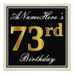 [ Thumbnail: Elegant, Black, Faux Gold 73rd Birthday + Name Invitation ]