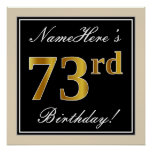 [ Thumbnail: Elegant, Black, Faux Gold 73rd Birthday + Name Poster ]