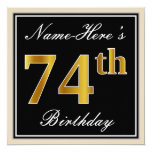 [ Thumbnail: Elegant, Black, Faux Gold 74th Birthday + Name Invitation ]