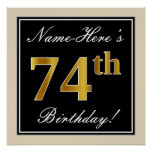 [ Thumbnail: Elegant, Black, Faux Gold 74th Birthday + Name Poster ]