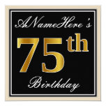 [ Thumbnail: Elegant, Black, Faux Gold 75th Birthday + Name Invitation ]