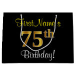 [ Thumbnail: Elegant, Black, Faux Gold 75th Birthday + Name Gift Bag ]