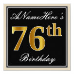 [ Thumbnail: Elegant, Black, Faux Gold 76th Birthday + Name Invitation ]