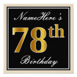 [ Thumbnail: Elegant, Black, Faux Gold 78th Birthday + Name Invitation ]