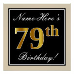 [ Thumbnail: Elegant, Black, Faux Gold 79th Birthday + Name Poster ]
