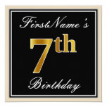 [ Thumbnail: Elegant, Black, Faux Gold 7th Birthday + Name Invitation ]