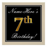 [ Thumbnail: Elegant, Black, Faux Gold 7th Birthday + Name Poster ]