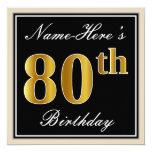 [ Thumbnail: Elegant, Black, Faux Gold 80th Birthday + Name Invitation ]