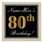 [ Thumbnail: Elegant, Black, Faux Gold 80th Birthday + Name Poster ]