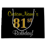 [ Thumbnail: Elegant, Black, Faux Gold 81st Birthday + Name Gift Bag ]