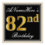 [ Thumbnail: Elegant, Black, Faux Gold 82nd Birthday + Name Invitation ]