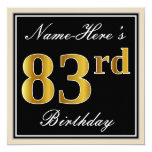 [ Thumbnail: Elegant, Black, Faux Gold 83rd Birthday + Name Invitation ]