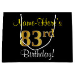 [ Thumbnail: Elegant, Black, Faux Gold 83rd Birthday + Name Gift Bag ]