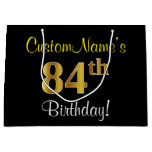 [ Thumbnail: Elegant, Black, Faux Gold 84th Birthday + Name Gift Bag ]