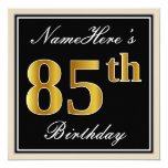 [ Thumbnail: Elegant, Black, Faux Gold 85th Birthday + Name Invitation ]