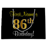 [ Thumbnail: Elegant, Black, Faux Gold 86th Birthday + Name Gift Bag ]