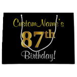 [ Thumbnail: Elegant, Black, Faux Gold 87th Birthday + Name Gift Bag ]