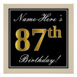 [ Thumbnail: Elegant, Black, Faux Gold 87th Birthday + Name Poster ]
