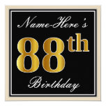 [ Thumbnail: Elegant, Black, Faux Gold 88th Birthday + Name Invitation ]