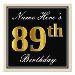 [ Thumbnail: Elegant, Black, Faux Gold 89th Birthday + Name Invitation ]