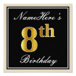[ Thumbnail: Elegant, Black, Faux Gold 8th Birthday + Name Invitation ]