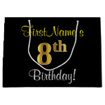 [ Thumbnail: Elegant, Black, Faux Gold 8th Birthday + Name Gift Bag ]