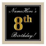 [ Thumbnail: Elegant, Black, Faux Gold 8th Birthday + Name Poster ]