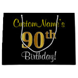 [ Thumbnail: Elegant, Black, Faux Gold 90th Birthday + Name Gift Bag ]