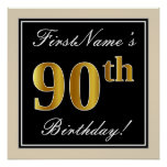 [ Thumbnail: Elegant, Black, Faux Gold 90th Birthday + Name Poster ]