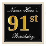 [ Thumbnail: Elegant, Black, Faux Gold 91st Birthday + Name Invitation ]