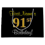 [ Thumbnail: Elegant, Black, Faux Gold 91st Birthday + Name Gift Bag ]