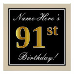 [ Thumbnail: Elegant, Black, Faux Gold 91st Birthday + Name Poster ]